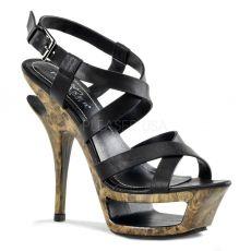 DELUXE-636 Luxusní boty na podpatku s pásky z černé kůže