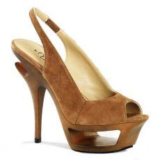 DELUXE-653 Hnědá semiš luxusní boty na podpatku