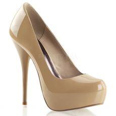 GORGEOUS-20 Moderní krémové boty na podpatku a skryté platformě