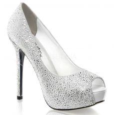 PRESTIGE-16 Luxusní bílé dámské lodičky na podpatku