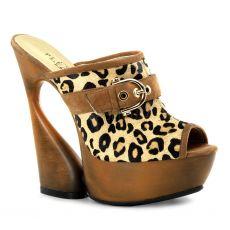SWAN-601LP Moderní boty na klínkovém podpatku hnědá gepard