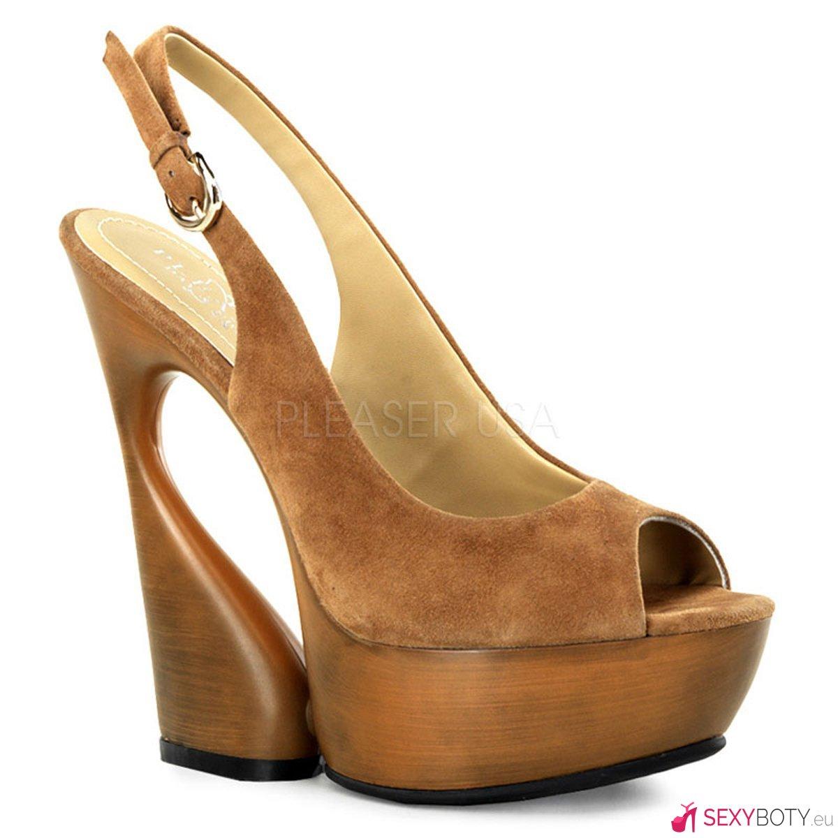 3c7d576ef5d9 SWAN-654 Moderní hnědé boty na klínkovém podpatku