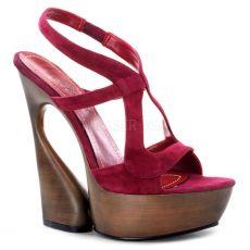 SWAN-657 Moderní červené luxusní boty na klínkovém podpatku labutí styl