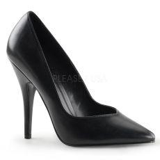 SEDUCE-420V Klasické černé matné dámské lodičky na podpatku