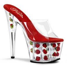ADORE-701FL Červené sexy boty na podpatku a platformě květy