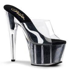 ADORE-701G Černá/průhledná sexy boty na podpatku