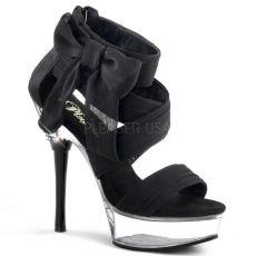 ALLURE-664 Sexy černá/průhledná obuv na vysokém podpatku