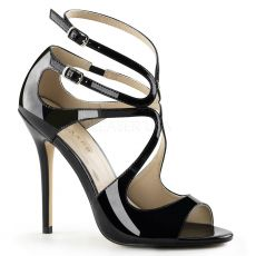 AMUSE-15 Černá plesová pásková obuv na podpatku