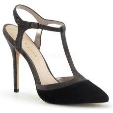 AMUSE-17 Elegantní černé sexy dámské lodičky na podpatku
