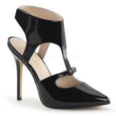 AMUSE-19 Elegantní černé společenské dámské lodičky na podpatku