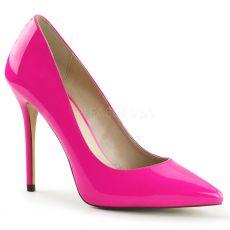 AMUSE-20 Klasické růžové dámské lodičky na vysokém podpatku