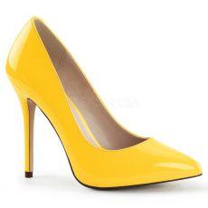 AMUSE-20 Klasické žluté dámské lodičky na vysokém podpatku