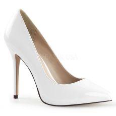 AMUSE-20 Klasické bílé dámské lodičky na vysokém podpatku
