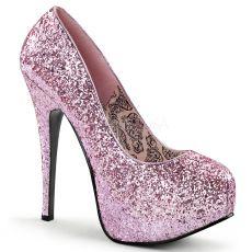 TEEZE-06G Růžové sexy dámské lodičky na podpatku a platformě