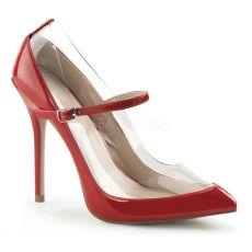 AMUSE-21 Moderní dámské lodičky na podpatku červená/průhledná