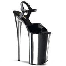 BEYOND-009 Extrémní černá/chromová obuv na velmi vysokém podpatku