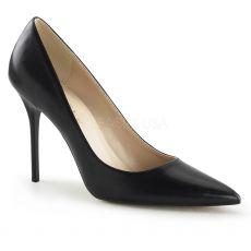 CLASSIQUE-20 Klasické černé matné dámské lodičky na podpatku