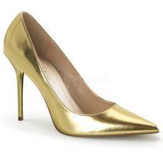 CLASSIQUE-20 Klasické zlaté dámské lodičky na podpatku