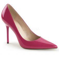 CLASSIQUE-20 Klasické tmavě růžové dámské lodičky na podpatku