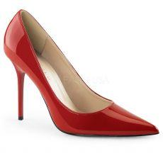 CLASSIQUE-20 Klasické červené dámské lodičky na podpatku