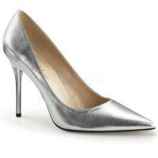 CLASSIQUE-20 Klasické stříbrné dámské lodičky na podpatku