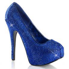 TEEZE-06R Modré sexy dámské lodičky na podpatku a platformě ozdobné kameny