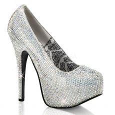 TEEZE-06R Stříbrné sexy dámské lodičky na podpatku a platformě ozdobné kameny