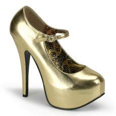 TEEZE-07 Zlaté matné dámské lodičky na podpatku