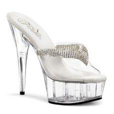 DELIGHT-601-5 Sexy strip boty na podpatku průhledné