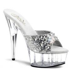 DELIGHT-601BJ Sexy stříbrné pantofle na podpatku a platformě