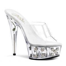 DELIGHT-601FL Sexy pantofle na podpatku a platformě bílá květy