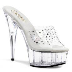 DELIGHT-601RS Luxusní průhledné sexy pantofle na podpatku a platformě