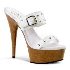 DELIGHT-602-9 Páskové sexy bílé kožené boty na podpatku