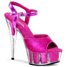 DELIGHT-609-5G Sexy boty na podpatku tmavě růžová glitr