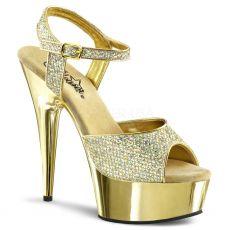 DELIGHT-609G Zlaté sexy boty na podpatku