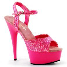 DELIGHT-609UVG Luxusní tmavě růžové svítivé sexy boty na podpatku