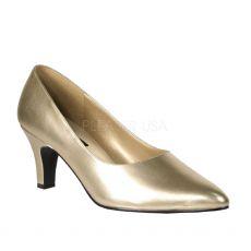 DIVINE-420W Zlaté dámské lodičky na podpatku