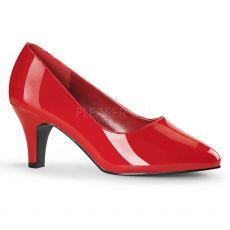 DIVINE-420W Červené dámské lodičky na podpatku