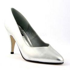 DREAM-420W Stříbrné dámské lodičky na podpatku
