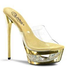ECLIPSE-601DM Zlatá sexy obuv na podpatku a platformě