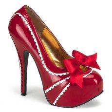 TEEZE-14 Sexy červené retro dámské lodičky na vysokém podpatku a platformě