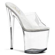FLAMINGO-801 Extra vysoké dámské podpatky průhledná sexy obuv