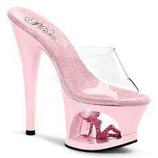 MOON-701TG Růžová sexy obuv na podpatku a moderní platformě