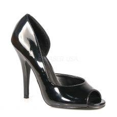 SEDUCE-212 Černé lesklé dámské lodičky na podpatku