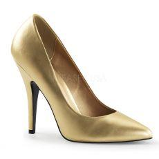 SEDUCE-420 Klasické zlaté dámské lodičky na podpatku
