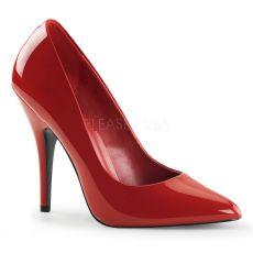 SEDUCE-420 Klasické červené dámské lodičky na podpatku
