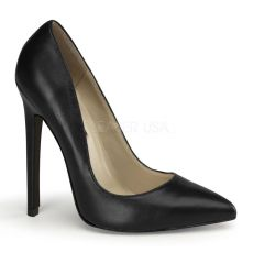 SEXY-20 Černé kožené sexy lodičky na podpatku