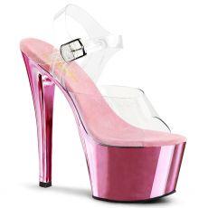 SKY-308 Dámské světle růžové/průhledné sexy boty na podpatku