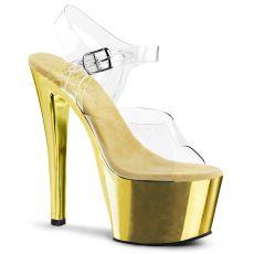 SKY-308 Dámské zlaté/průhledné sexy boty na podpatku