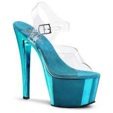 SKY308/C/TECH Sexy tyrkysové boty na vysokém podpatku